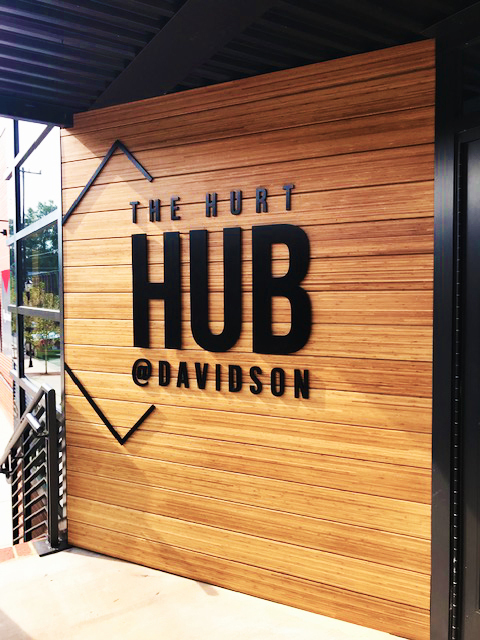Featured at The Hurt Hub at Davidson College, located in Davidson, North Carolina, is Lamboo® Rainscreen™ - Exterior Cladding, along with commercial signage.
