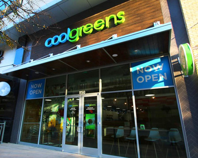 Cool Greens, located in Richardson, Texas, features Lamboo® Rainscreen™ - Exterior Cladding & Soffit on the storefront exterior.