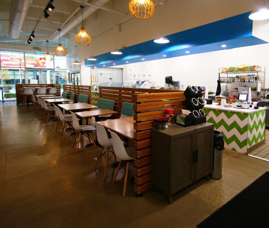 Featured here at Cool Greens is the combination of Lamboo® Surface™ - Partition Walls & Lamboo® Surface™ - Table Tops.