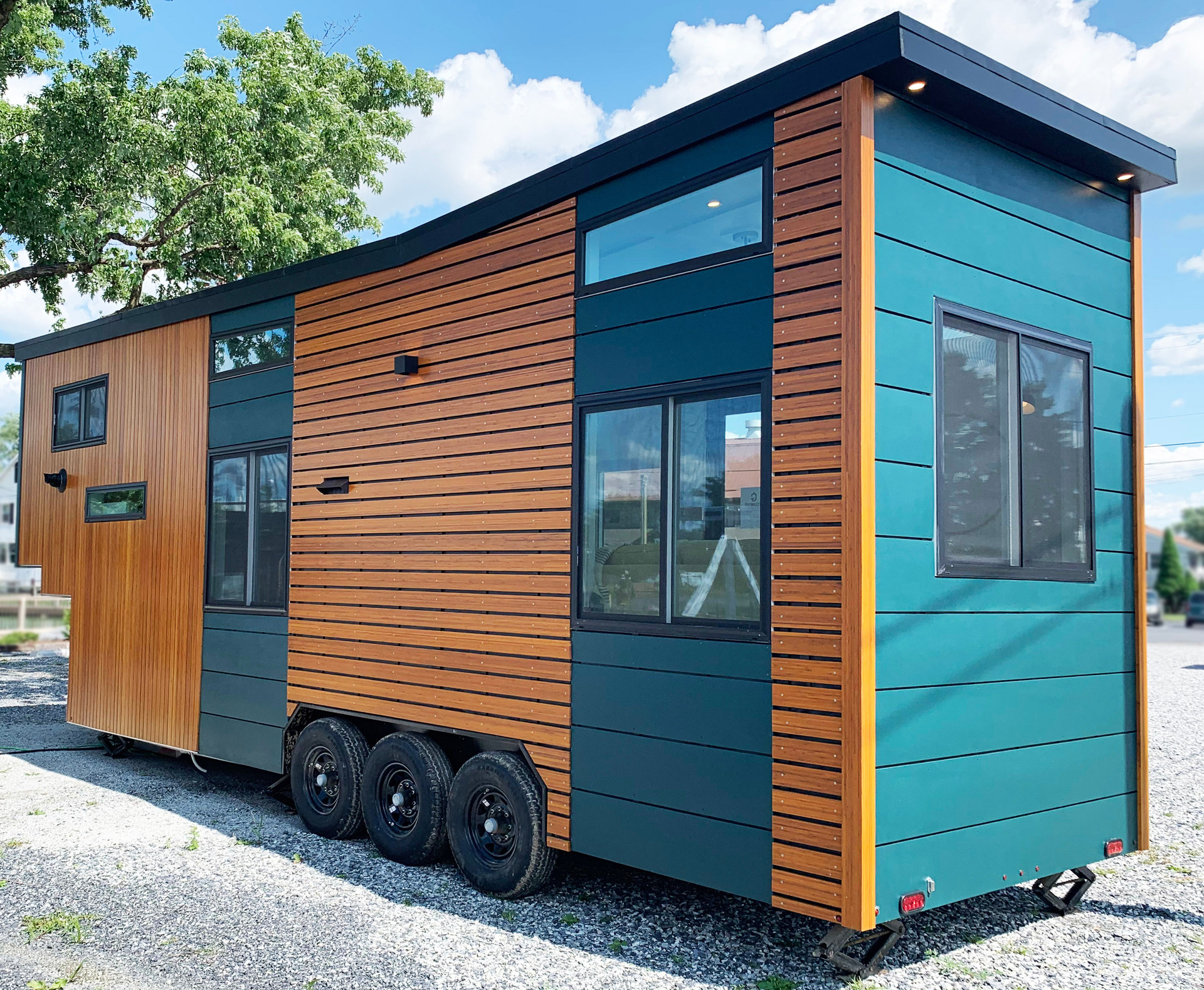 Lamboo® Elements™ - Exterior Components are featured throughout the exterior of the Greenwood Tiny Home.