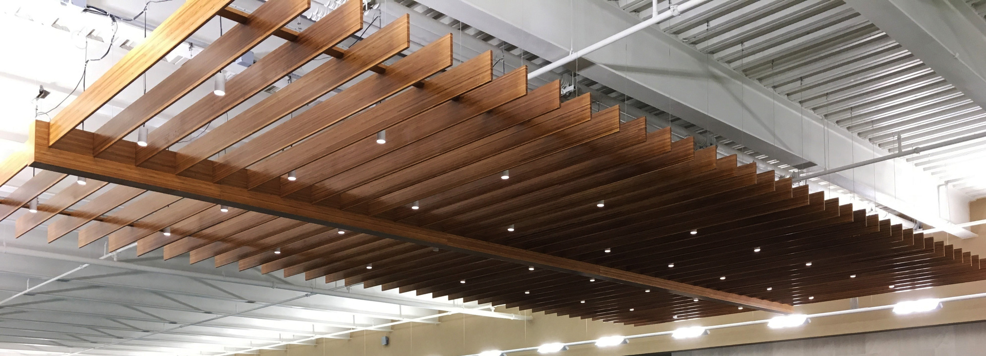 Featured at Lifetime Fitness, located in Bridgewater, New Jersey, are Lamboo® Skyline™ - Custom Ceiling Trellis.