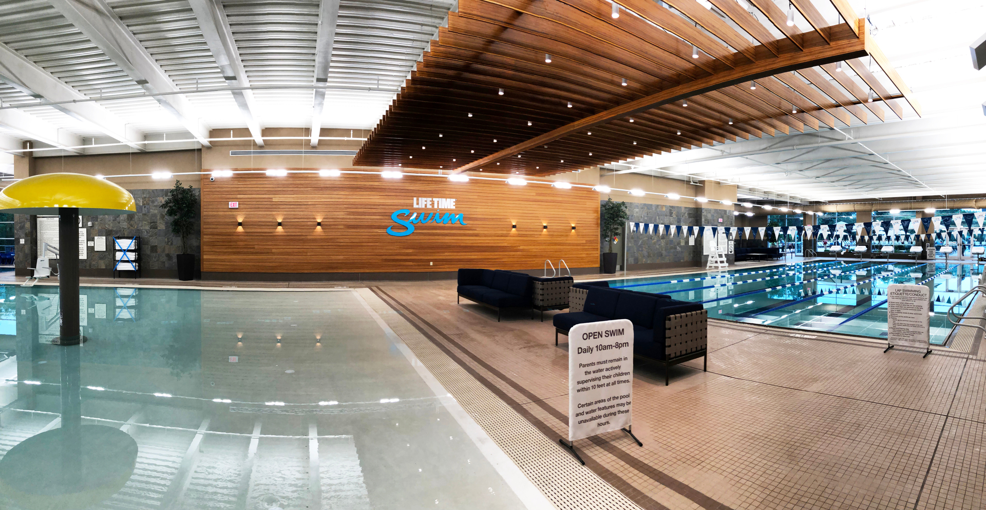 Lifetime Fitness, located in Bridgewater, New Jersey, features Lamboo® Skyline™ - Custom Ceiling Trellis & Lamboo® Rainscreen™ - Interior Feature Wall.