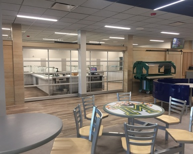 Featured here at the McComb High School cafeteria is Lamboo® Surface™ - Wall Paneling.