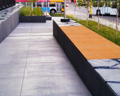 Featured at the Metro Transit Police Station, located in Minneapolis, Minnesota, are Lamboo® Elements™ - Exterior Bench Slats.