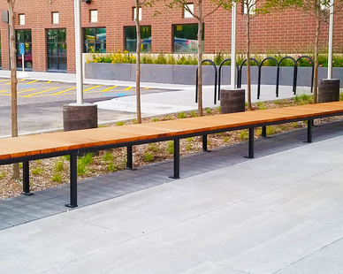 The Metro Transit Police Station, located in Minneapolis, Minnesota, features Lamboo® Elements™ - Exterior Bench Slats.