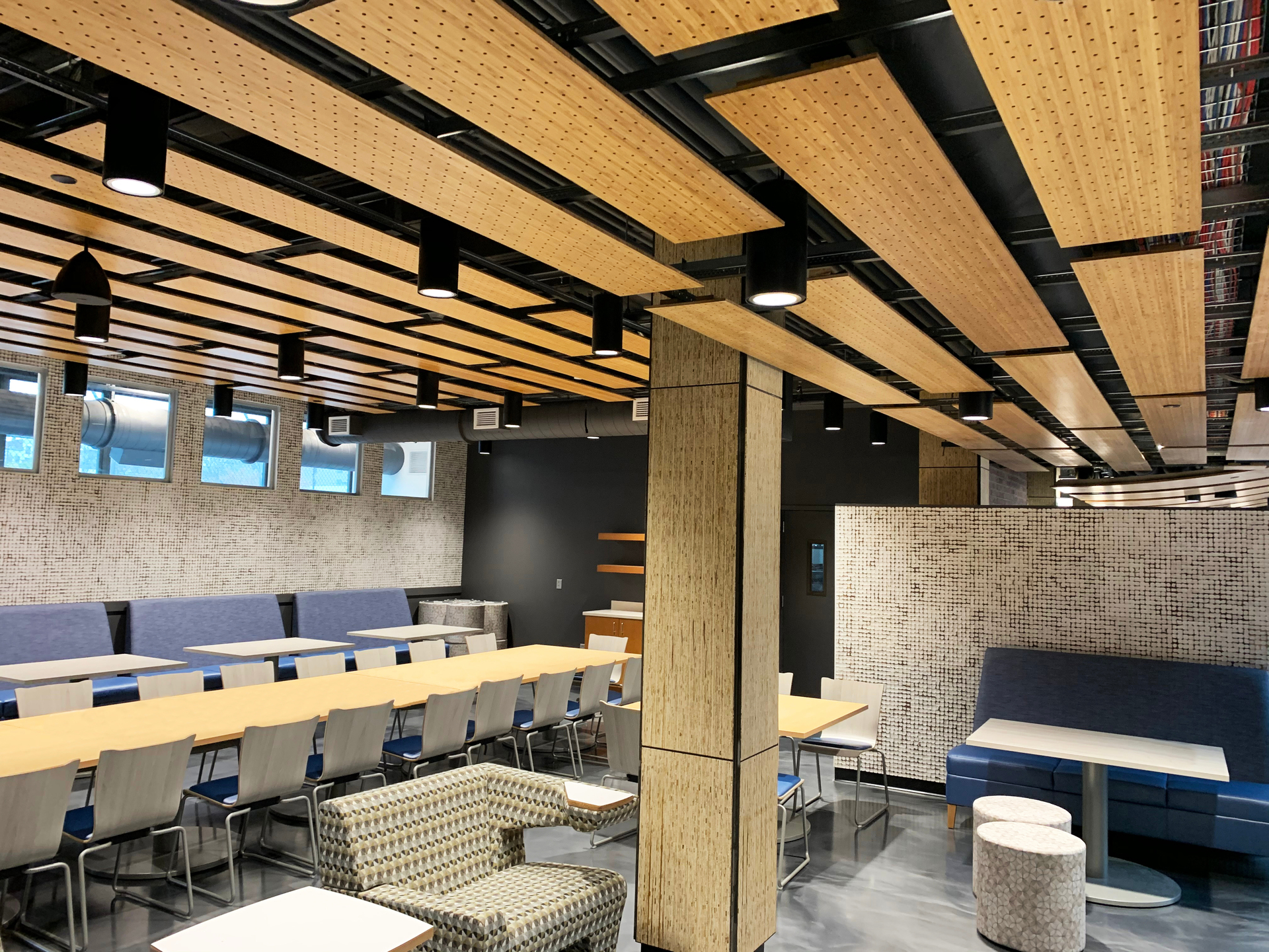 Throughout Newark Culinary School you will notice the use of Lamboo® Surface™ - Perforated Acoustic Panels.