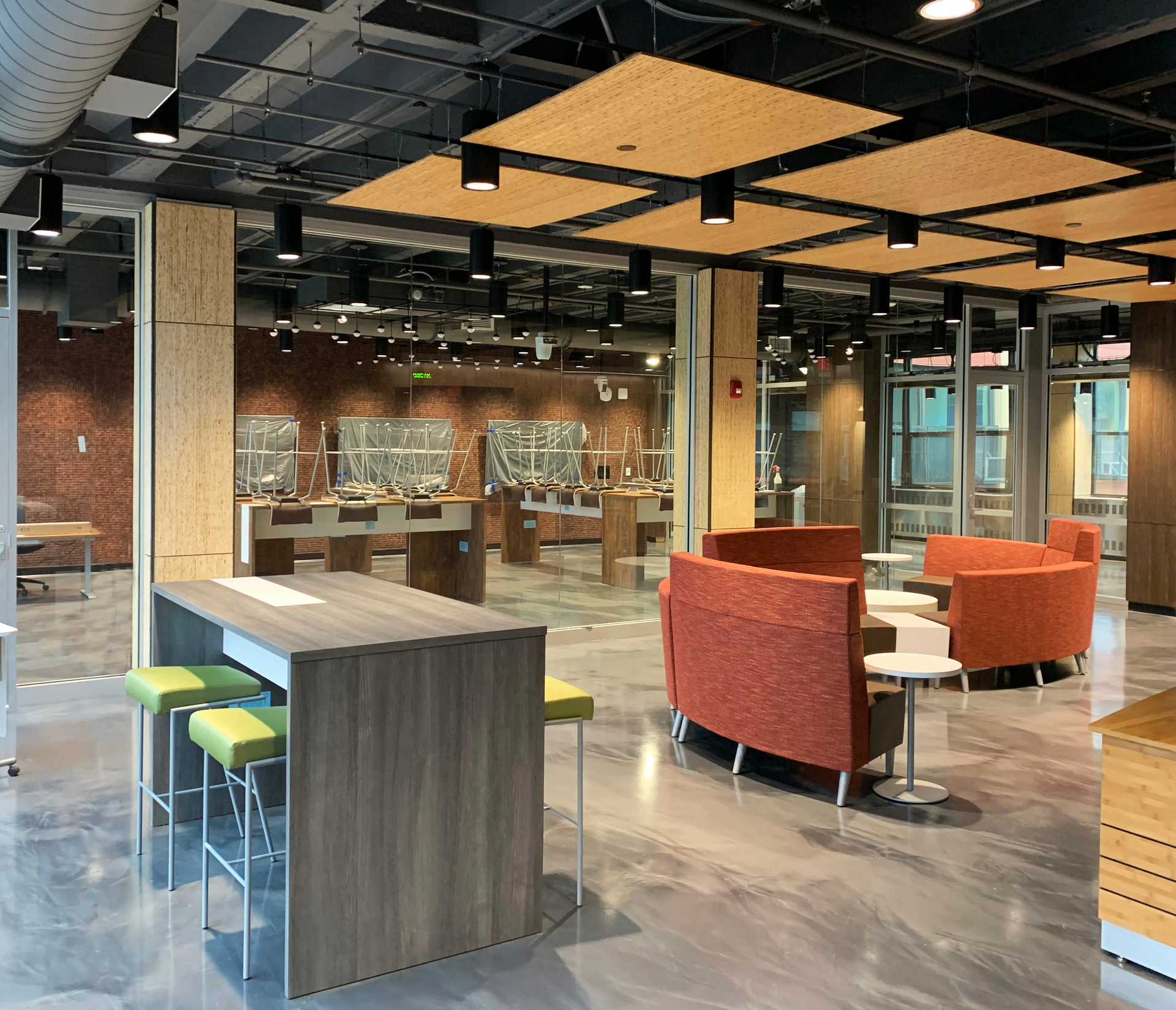 Featured here at Newark Culinary School are Lamboo® Surface™ - Perforated Acoustic Panels.