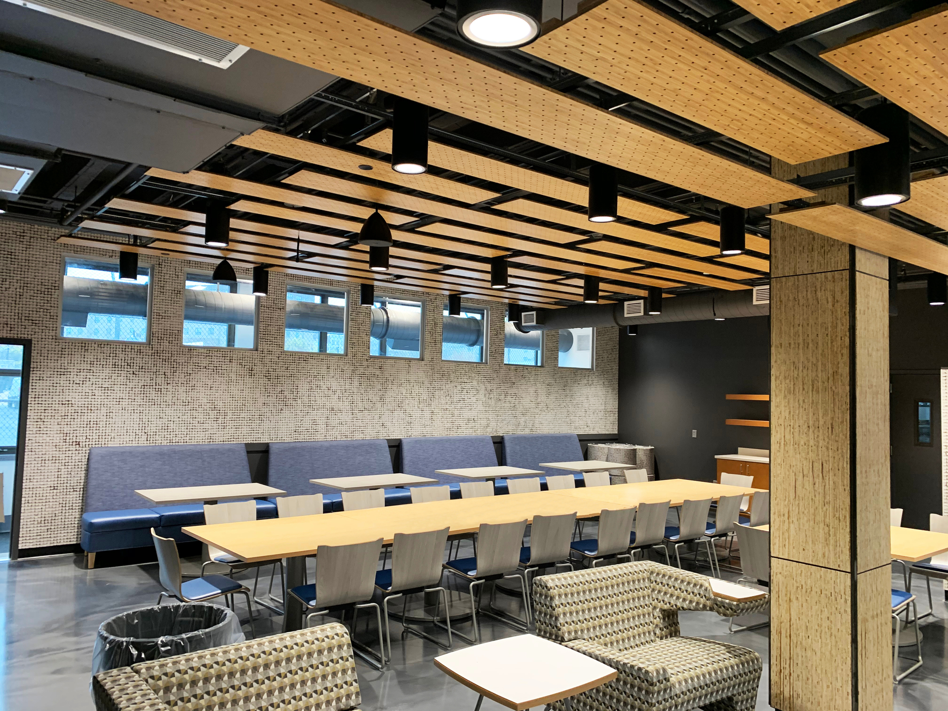 Newark Culinary School, located in Newark, New Jersey, highlights Lamboo® Surface™ - Perforated Acoustic Panel throughout the final design of the school.