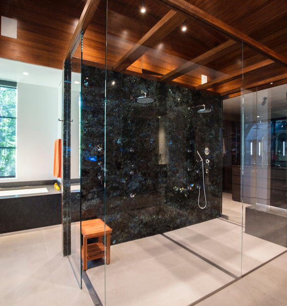 Featured in one of the bathrooms at the Okatie Residence are Lamboo® Structure™ - Beams around the shower.