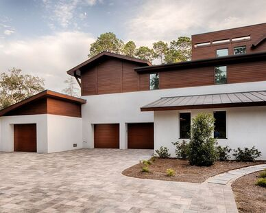 Okatie Residence, located in Okatie, SC, features Lamboo® Rainscreen™ - Exterior Siding throughout the exterior.