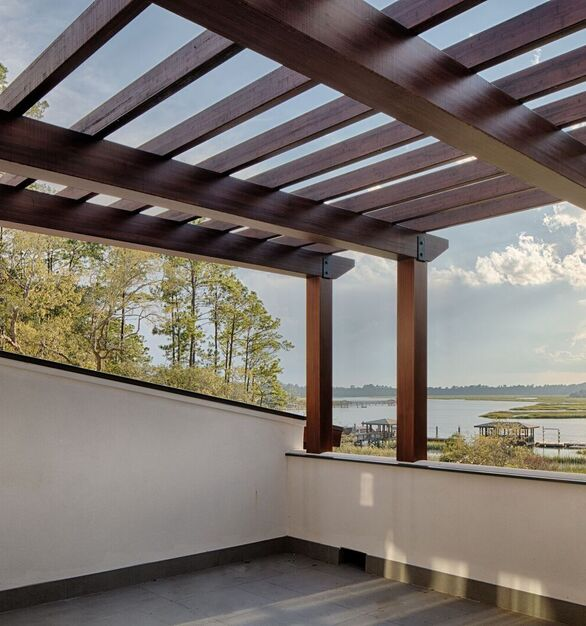 Featured here at the Okatie Residence in SC is Lamboo® Structure™ - Pergola.