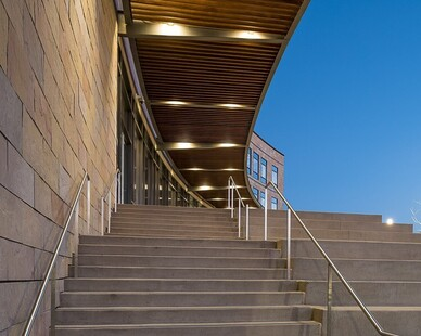 Featured throughout the exterior at P2A are Lamboo® Structure™ - Awning Elements.