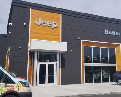 Butler Automotive Dealership, located in Beaufort, South Carolina, features Lamboo® Rainscreen™ Siding & Soffit Systems.