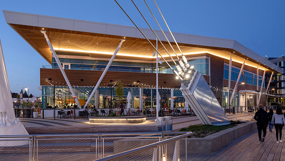 Featured at the Vancouver Waterfronts exterior is Lamboo® Rainscreen™ - Exterior Cladding.
