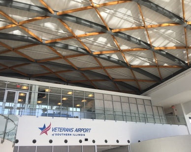 Featured here at the Veterans Airport are Lamboo® Structure™ Series - Cambered Structural Beams.