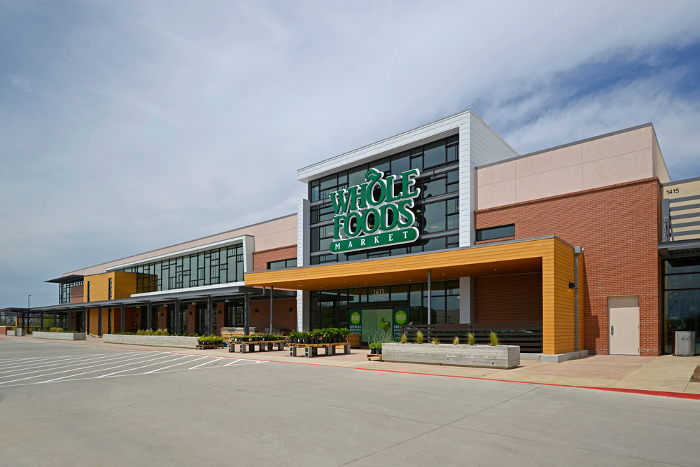 Featured here at Whole Foods are Lamboo® Rainscreen™ - Awning Soffit, completing the exterior design of the building.
