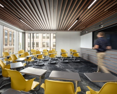 A classroom design with efficient use of space at Colby College in Waterville, Maine, by Landry French Construction.