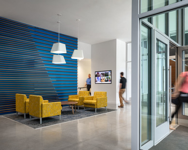 The welcoming lobby entrance at Colby College in Waterville, Maine, by Landry French Construction.