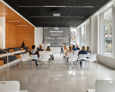 An open classroom design that encourages collaboration and teamwork at Colby College in Waterville, Maine, by Landry French Construction.
