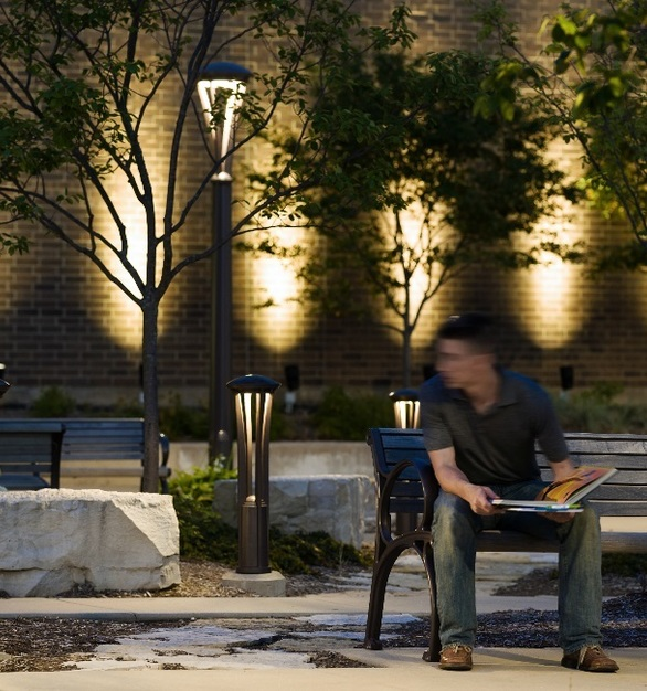 Elevate your exterior spaces with modern lighting and seating solutions by Landscape Forms.