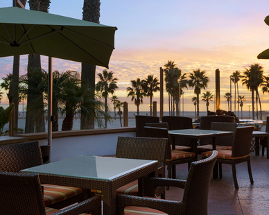 Patio area at The Waterfront Beach Resort in Surf City USA.