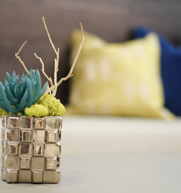 Cute blue succulents with a silver vase made by LDF Silk.