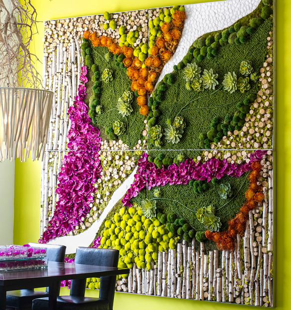 This Organic Wall Art includes Birch Poles, Boxwood, Purple and Orange Botanicals, Succulents and Moss Rocks that are produced in 4 easy install panels.