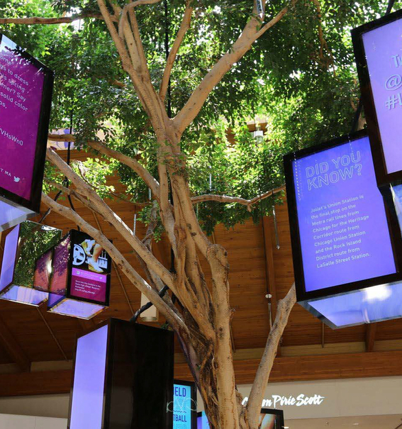 The Louis Joliet Mall in Illinois creates a light, airy environment with their indoor plants and trees, skylight and wooden beams.   The LUXFIT™ RGB LED Light Panels hanging on the tree provide information and bring some fun colors to the shopping center.