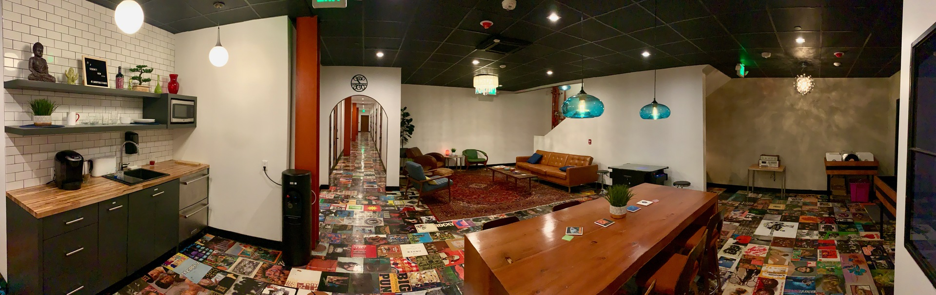 A panoramic view of the recording studio lounge.  LemonTree Studios installed QuietRocks 545 Multi-layer gypsum panels.  They are engineered to provide maximum sound attenuation across a broad frequency range.