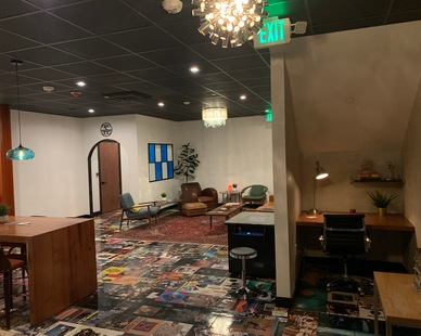 Get your creative juices flowing in this Music Studio Lounge.  The album records on the floor is a unique and fun touch.  LemonTree studios used QuietRock's sound reducing drywall to help create an environment where sound doesn't travel between rooms