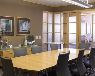 Mid-century modern conference room in the First Dakota Title office in Sioux Falls, South Dakota.
