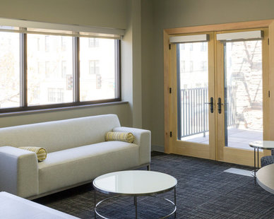 Bright and spacious soft seating area at the First Dakota Title office in Sioux Falls, South Dakota.