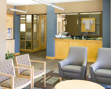 Bright waiting area at the First Dakota Title office in Sioux Falls, South Dakota.