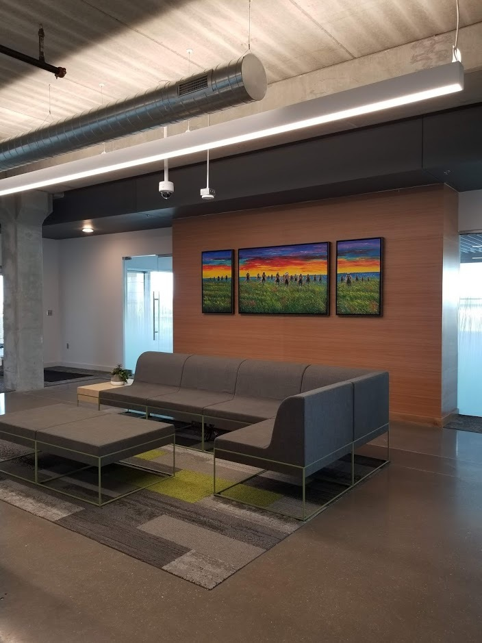 Additional waiting space available at Reliabank Mortgage in Sioux City, South Dakota with interior design by Lenae Design.