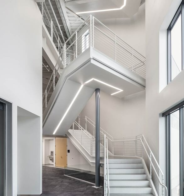 SFO Consolidated Administration Campus is located in San Fransisco, CA featuring lighting products by Acuity Brands - A-Light. Project in collaboration with JS Nolan, Mark Cavagnero Associates Architects, Perkins + Will, Webcor Builders, and Acuity Brands agent 6500. 