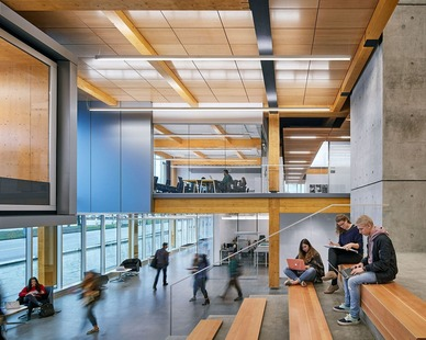 The commons area in the School of Design is a great space to study and get together with classmates.