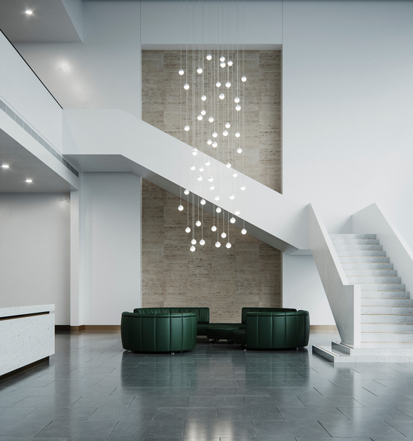 The design of the new Kiewit Global headquarters expresses the company's values, history and brand in three dimensions: like the company, it is honest and strong, flexible yet lasting, and tells a story.  OCL hanging pendant lighting adds style to the lobby and reception space.