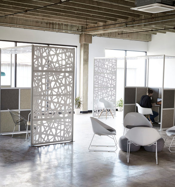 The sculptural design of the Webwall divider screen by Loftwall was inspired to provide space division for an open space or area without blocking off natural light.