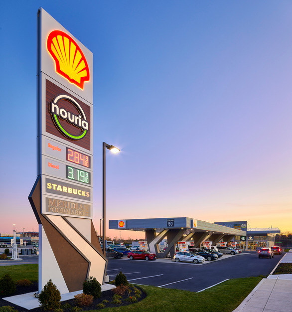 This Logan Airport Nouria Energy Convenience Center project brings together a food and fuel station for airport travelers and locals alike with Starbucks and Meridian Market, an East Boston local favorite.  Photography Credit: Joseph Ferraro Photography