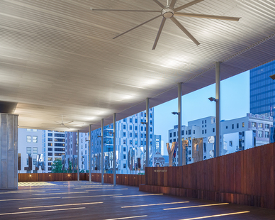 Enjoy the view of the city on the rooftop terrace at The ContemporAry Austin - Jones Center in Austin, Texas, by LTL Architects.