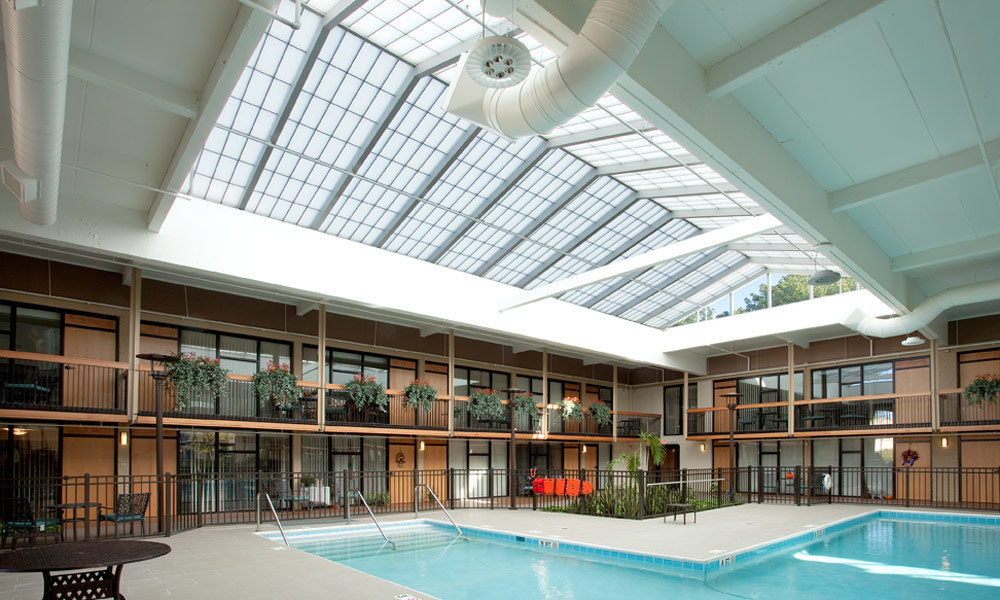 The Atrium at Anna Maria is a senior living center located in Aurora, Ohio, that features two stunning Major Industries skylight systems.