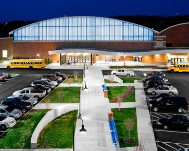 The exterior of Hamilton High School showcases the incredible windows and skylights provided by Major Industries.