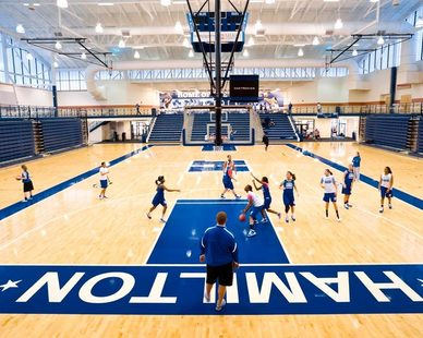 The gymnasium for Hamilton High School boasts a spacious gymnasium with plenty of natural lighting thanks to the sky lights provided by Major Industries.