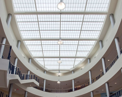 The San Jacinto College District Allied Health South atrium features a large Major Industries skylight system.