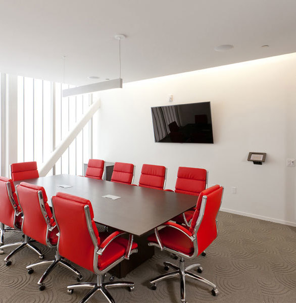 The Guardian 275® Wall System allows sunlight to illuminate this stunning conference room at the Rosetta HQ.