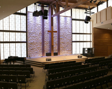In front of the congregation at the Trinity Church located in Lubbock, Texas are the beautiful Guardian 275® Wall System provided by Major Industries.