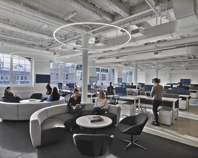 Peloton brought Mancini Duffy aboard to finish out 50,000 square feet over five floors in a recently repositioned building, providing a blank canvas to invent a new model of workplace that encompasses the company's multifaceted mission.