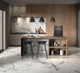 Marble Look Tile Floor and Wall Tile in Kitchen Area