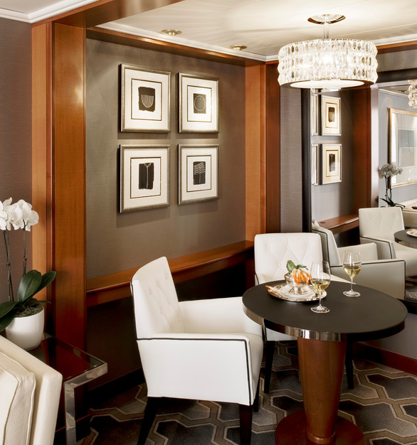 Comfortable dining space in a Crystal Serenity Cruise Line bedroom suite featuring Tabu Veneer panels by Materials Inc.