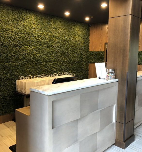 Materials Inc Hydra wall compliments the interior design at Hotel Zero Degrees located in Danbury, CT.